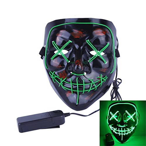 Uecoy Light up LED Smiling Stitched Purge Mask for Halloween, Rave, Festivals, and Cosplay (Green)]()