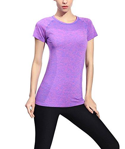 suzone camiseta deportes de mujer Yoga superior entrenamiento de manga corta T-Shirt morado