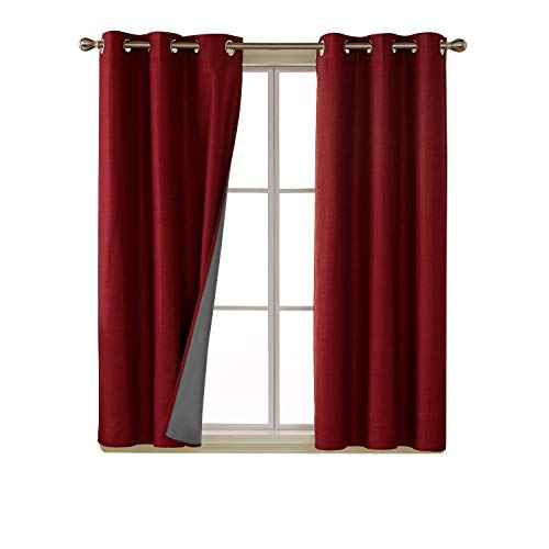 Deconovo 100 Percent Blackout Curtains with 3 Pass Energy Efficient Thermal Insulated Coating Faux Linen Room Darkening Grommet Curtains for Living Room 38 x 63 Inch Long Set of 2 - Window Opulence