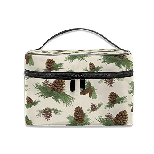 Mountain lodge cabin in the forest home decor pine cones Portable Travel Makeup Bag Cosmetic Organizer Tote Bag for Women Girls