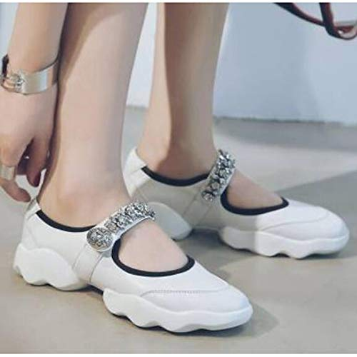 Round de Sneakers Nappa Leather Blanco ZHZNVX Mujer Summer Black Toe Comfort Negro Zapatos Flat Heel 5InUnqw0v