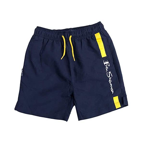 Ben Sherman Nuoto Pantaloncini Blazer Blu Scuro/Giallo Logo Pantaloncini età 3Y Fino A 1