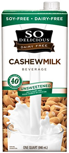 Almond Cashew Milk - So Delicious Dairy Free Cashewmilk Beverage Unsweetened 32 oz (Pack of 6), Dairy Soy Coconut and Almond Alternative Unsweetened Milk Drink, Shelf-Stable Aseptic Packaging