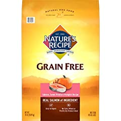 Nature's Recipe Grain Free Easy to Digest Salmon, Sweet Potato & Pumpkin Recipe is a flavorful premium dog food with real salmon as our #1 ingredient. Tasty sweet potato and pumpkin are highly digestible, grain-free sources of carbohydrat...