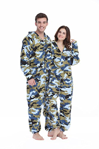 XMASCOMING Women's & Men's Hooded Fleece Onesie Pajamas Navy Camo Size US XXL -