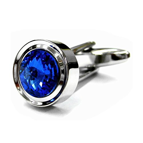 (Tailor B Solo Blue Crystals Cufflinks Sapphire Cuff Links 052005-5)