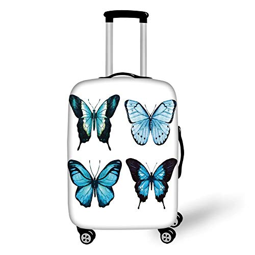 Travel Luggage Cover Suitcase Protector,Butterflies,Elegant Butterfly Collection with Ornate Wings Life Watercolor Print Home Decorative,Blue Black,for TravelM 23.6x31.8Inch