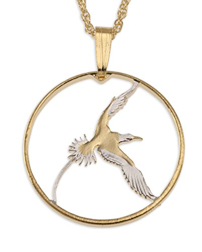 The Difference World Coin Jewelry Bermuda Long Tail Bird Pendant & Necklace, Bermuda 25 Cents Hand Cut