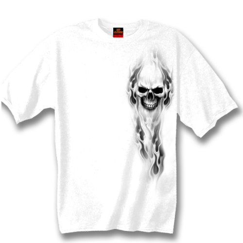 Hot Leathers Ghost Skull 100% Cotton Double Sided Printed Biker T-Shirt