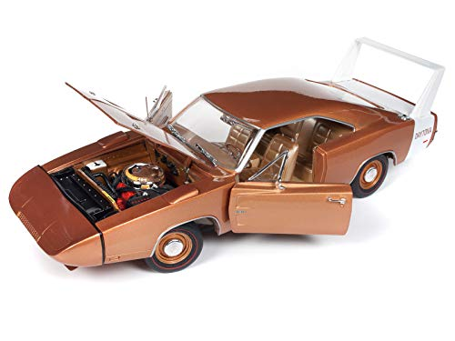 1969 Dodge Charger Daytona Metallic Bronze MCACN 10th Anniversary Limited Edition to 1,002 Pieces 1/18 Diecast Model Car by Autoworld AMM1168