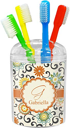 YouCustomizeIt Swirls & Floral Toothbrush Holder (Personalized)