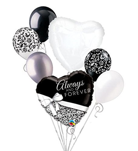 Love Balloon Bouquet (7 pc Always Forever Black White Balloon Bouquet Party Wedding Bridal Anniversary)