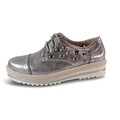 Schuhtraum Damen Schnürschuhe Schnürer Sneakers Plateau Nieten Metallic  Halbschuhe S807 Silber 4da08275e7