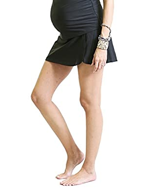Oceanlily High Waist Over The Belly Maternity Swimwear Swim Skirt-Swim Brief Attached