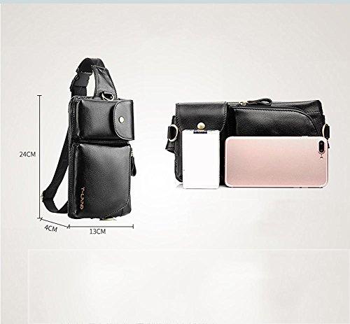 Bolso de la cintura de los hombres, paquete de múltiples funciones, la primera capa de la moda de cuero bolso de hombro inclinado, bolso de cuero pequeño pecho, personalidad bolsa de hombro , black black