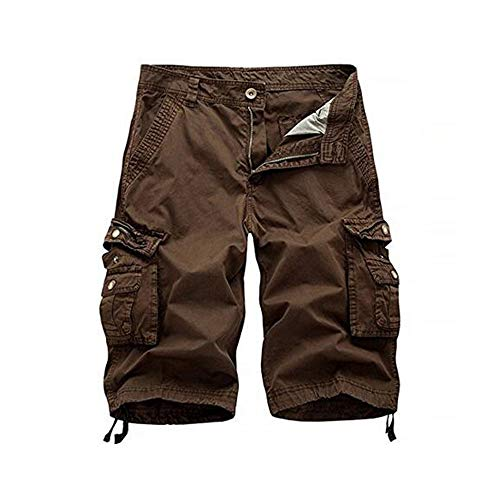 Osmyzcp Mens Cotton Relaxed Fit Outdoor Camouflage Camo Cargo Shorts-Brown-32