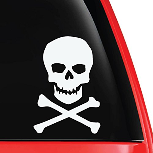EvolveFISH Skull & Crossbones Vinyl Decal White 5