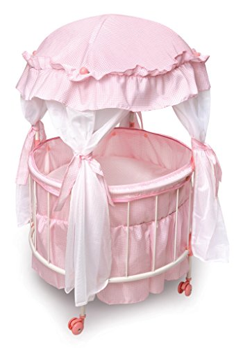 Badger Basket Royal Pavilion Round Doll Crib with Canopy and Bedding (fits American Girl Dolls) ()