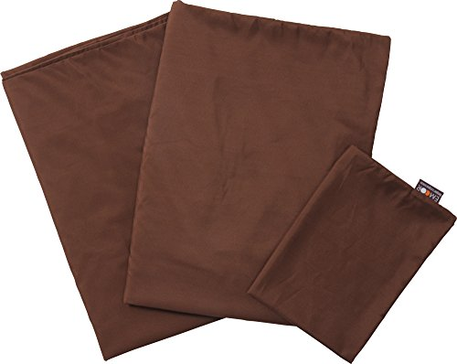 EMOOR 100% Polyester 3-piece Cover Set for Japanese Futon (Comforter Cover, Futon Mattress Cover and Pillowcase), Full Size, Brown ()
