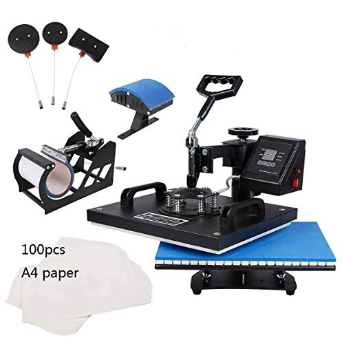TC-Home Heat Press 5 in 1 Multifunction Sublimation Heat Press Machine Digital Transfer Sublimation T-Shirt Mug Plate Cap Hat W/Transfer Paper