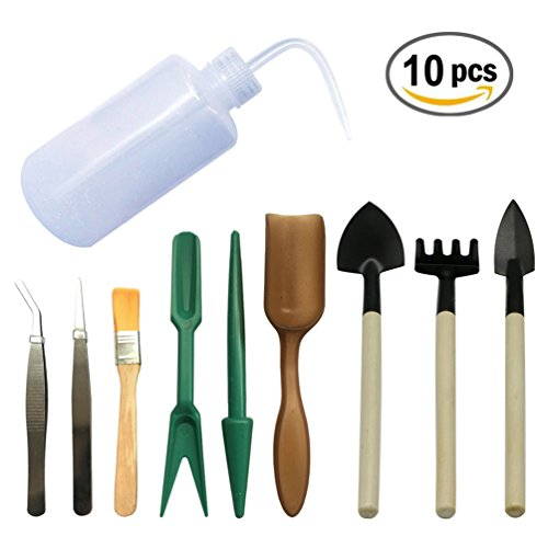 10 PCS Mini Garden Succulent Hand Tools Set for Transplanting Miniature Fairy Small Planting (Garden Hand Tool Gift Sets)