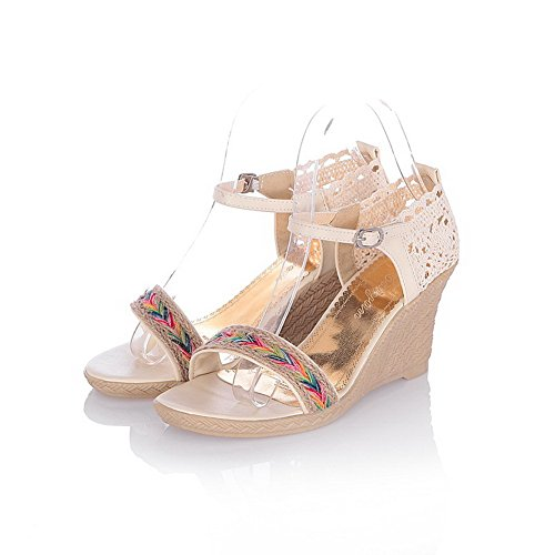 AllhqFashion Women's PU Assorted Color Buckle Open Toe High-Heels Wedges-Sandals apricot 59NUy6qen