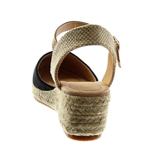Cinturino Zeppe bi con Intrecciato Tanga alla CM Corda Piattaforma Materiale Sandali Nero Zeppa Angkorly Moda Donna Scarpe Tacco Espadrillas Caviglia 5 5 qXxz88pBw