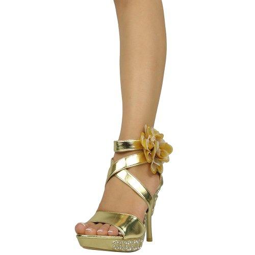 Plate-forme Sandales Pour Femmes X-sangle Et Tulle Fleur Dos Fermeture À Glissière Or