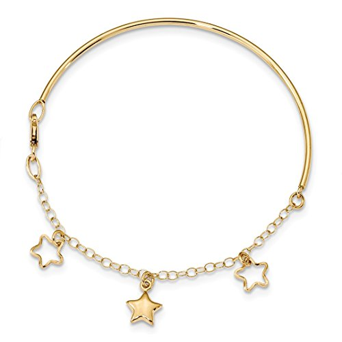 ICE CARATS 14kt Yellow Gold Dangle Star Bracelet Chain Bangle 7 Inch Celestial Fine Jewelry Ideal Gifts For Women Gift Set From - Yellow Ice Gold Bangles