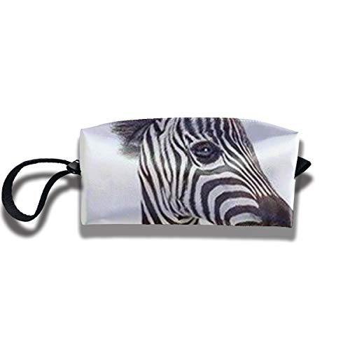 Cosmetic Bags With Zipper Makeup Bag Zebra Face Middle Wallet Hangbag Wristlet Holder -