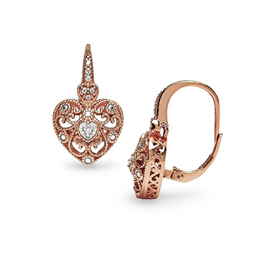 Rose Gold Flashed Sterling Silver Heart Filigree Diamond Accent Leverback Drop Earrings, IJ-I3