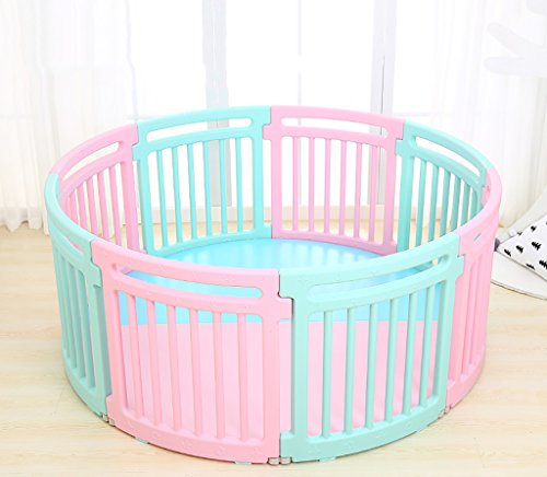 HTDZDX Baby Playpen,Kids Activity Centre Safety Play Yard,Indoor Outdoor 8 Round Panel with Two-Color Floor Mat (Color : Pink+Blue) ()