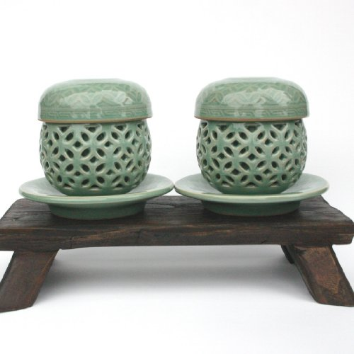 Korean Infuser Cup Saucer /Set of 2 /Double Wall / Hand-crafted