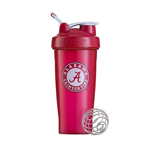 BlenderBottle Collegiate Classic 28-Ounce Shaker Bottle, University of Alabama Crimson Tide - Red/White -