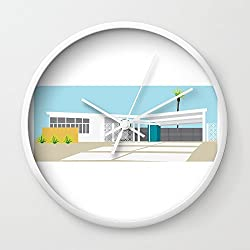 Society6 Mid-century Modern House Four Wall Clock White Frame, White Hands