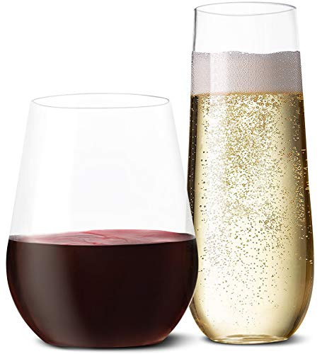 Plastic Wine Glasses and Champagne Flutes - (Set of 20 Each) Stemless Disposable Stemless Wine Cups For Wedding Party Toasting. Unbreakable Tumblers Clear Like Glass To Show Off Fancy Cocktail