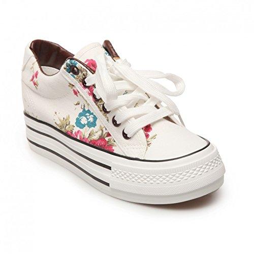 La Modeuse - Zapatillas Bajas de Plataforma con diseño de Flores Blancas, Blanco (Blanco), 38: Amazon.es: Zapatos y complementos