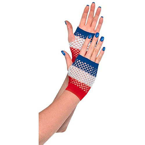 Amscan Patriotic Fourth of July Red, White and Blue Stripes Fingerless Fishnet Gloves Accessory, Fabric, Standard Adult (Costumes With Red Fishnets)