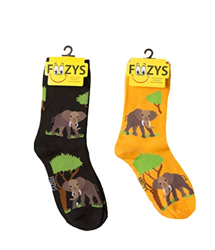 Foozys Women's Crew Socks | African Elephant Zoo Animal Novelty Socks | 2 Pair