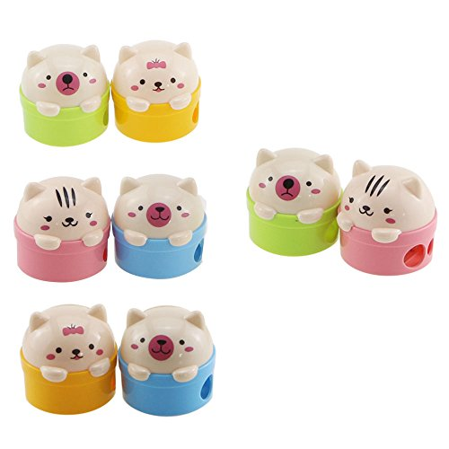 Acmer Cute Cartoon Animal Bear Two-Holes Pencil Sharpeners School Gift Prize for Kids - Great Quality, Pack of 8