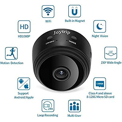 Spy Camera Wireless Hidden WiFi, JOYTRIP HD 1080P 150° Wide-Angle Mini Spy Hidden Camera Home Security Battery Nanny Cam with Night Vision/Motion Detection/Cell Phone APP for iPhone/Android (Black) from Joytrip