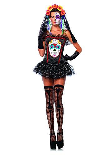 Leg Avenue Women's Sugar Skull Bustier Costume Accessory, Black, Large