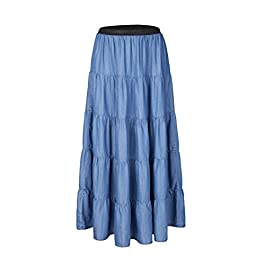 Tronjori Womens A Line Maxi Long Lightweight Tencel Denim Tiered Skirt with Multi Layers
