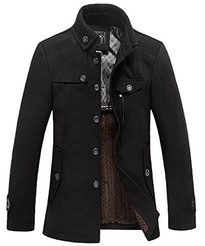 Chouyatou Men's Stand Collar Wool Blend Single Breasted Pea Coat With Fleece Lined (X-Small, Black) -