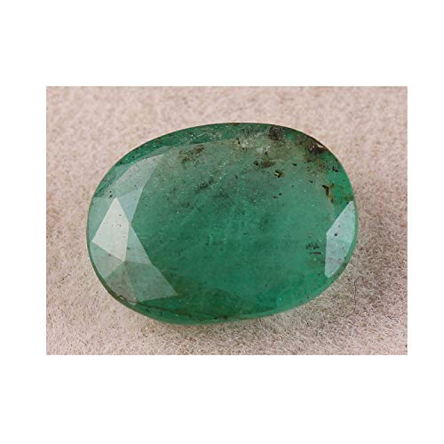 Neerupam Collection 2.6 Carat Oval Shape Natural Zambian Green Emerald Loose Gemstone for Jewelry Making, Ring Size Gemstone, Healing Birthstone, Astrological Gemstone ()