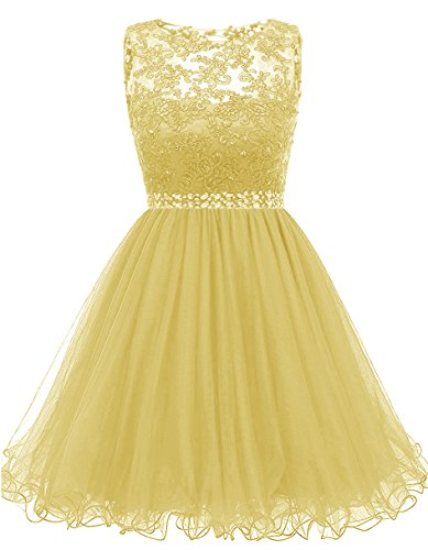 omecoming Dresses Sequined Appliques Cocktail Prom Gowns Short H010 8 Yellow ()