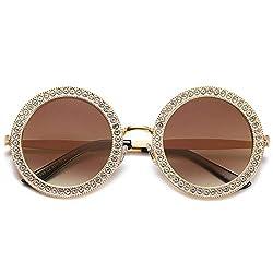 Round Oversized Rhinestone Sunglasses