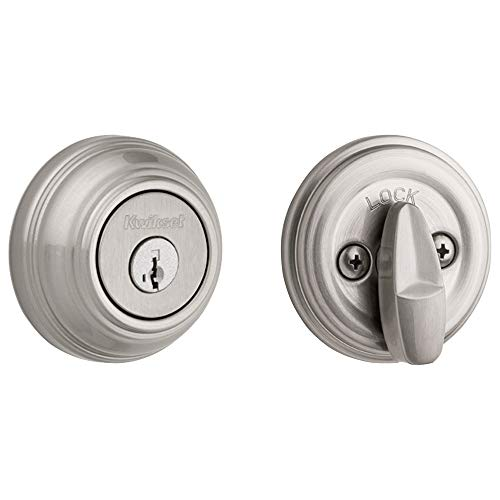Kwikset 99800-090 980 Single Cylinder Round Traditional Deadbolt Door Lock featuring SmartKey Security in Satin Nickel,