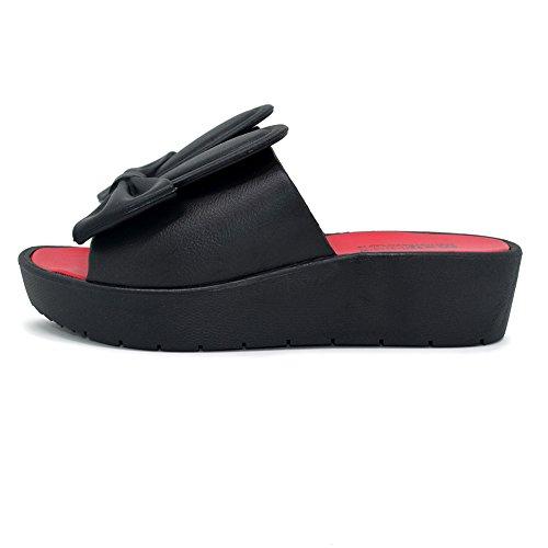 Sandalias Chanclas Chancletas Zapatos Planos Sandalia Flip Flop Polliwoo Corazón Boho Verano Playa Para Mujer Negro