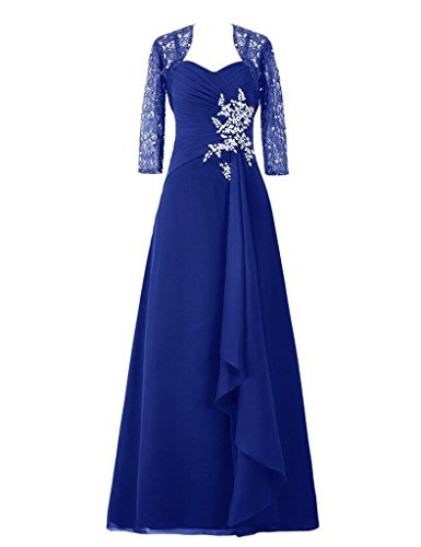 H.S.D Lace Applique Jacket with Mother of the Bride Dresses Long Prom Gowns US 22W ()